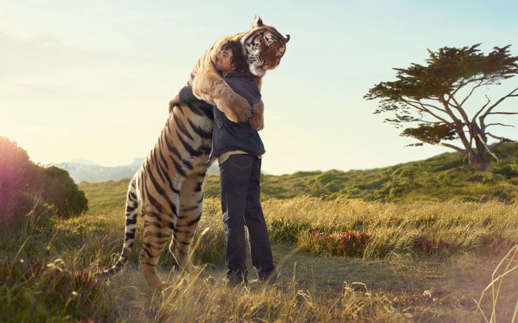 man hugging tiger