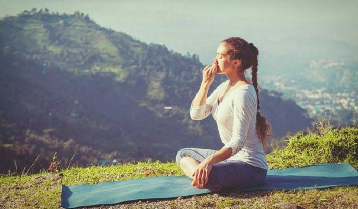 woman pranayama breathing