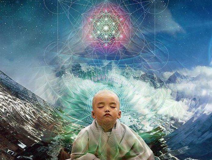 child meditating sacred geometry
