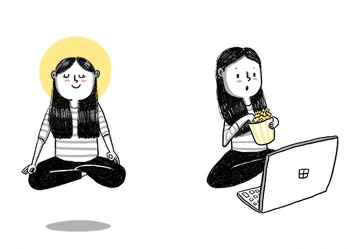 woman meditation on computer