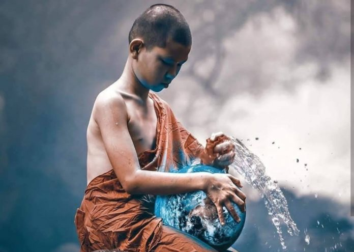 young buddhist monk earth